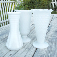 Wedding decor - Large milk glass vases (Set of 3) - Cottage chic - Country wedding - Vintage home decor (READY to ship)