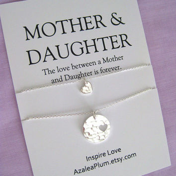 MOTHER Daughter Necklace. Mother of the Bride Set. 60th Birthday Gift. Mom Daughter Jewelry.  Mom Jewelry. Birthday gift for Mom. Mom Gift