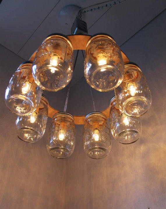 Wagon Wheel Mason Jar Chandelier Mason From Boots N Gus