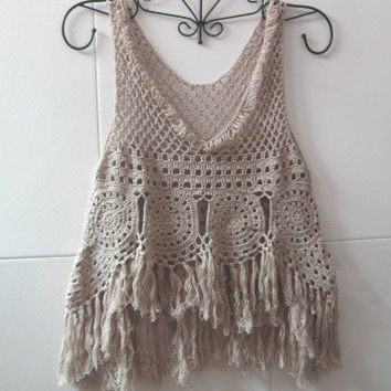 Fringed Tank Top, Hippie fringed vest, Crochet women top summer lace beach cover up