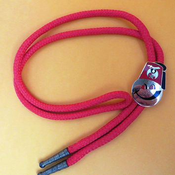 Vintage Shriners Bolo Tie - Red Cord Bolo, Smiley Face Masonic Shriners Tie