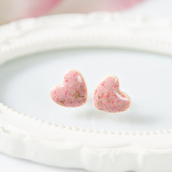 Pink heart earrings Heart stud earrings Clay earrings Pink stud Ceramic earrings handmade Ceramic jewelry Sterling silver posts