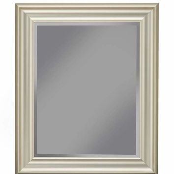 Polystyrene Framed Wall Mirror With Beveled Glass, Silver