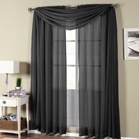 Abri Black Rod Pocket Crushed Sheer Curtain Panel