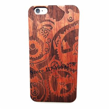 29 Style Robot Saw Gear Natural Wood Phone Case For Iphone 6 6S 6Plus 7 7 Plus 5 5S SE Bamboo Carved Wooden iphone6 Cover