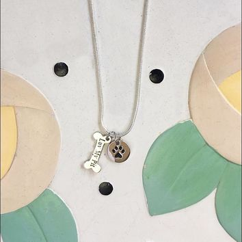 Luv My Pit & Paw Print Charm Necklace