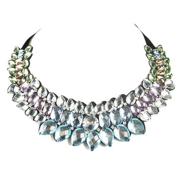 Gradient Color Rhinestone Necklace With Tie