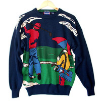 "Hathaway ""Play Through The Rain"" Men's Tacky Ugly Golf Sweater"