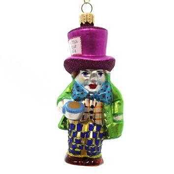 Holiday Ornament MAD HATTER Glass Alice Wonderland V23455AC