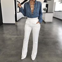 White Modern High Waisted Trousers