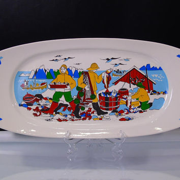 Serving Platter Torskefiske Figgjo Flint Norway Gerd Design Rare Large Handpainted Silkscreen Discontinued