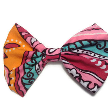 Pink paisley sock bun hair bow for teens - pin up hair bow - fabric hair clip - little girl messy bun hair bow