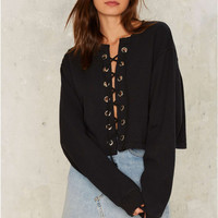 Black Long Sleeve Lace Up Top