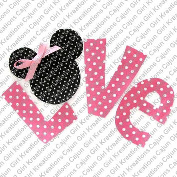 Pink Polka Dot Love Minnie Mouse Printable Digital Iron On Transfer Clip Art DIY Tshirts Instant Download