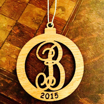 Personalized Wooden Initial Christmas Ornament