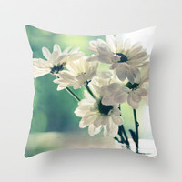 White Daisies - Simplicity Throw Pillow by micklyn