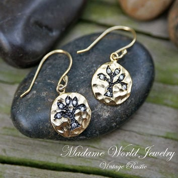 Hammered Circle with Oxidized Base Clear CZ Tree of Life Dangle Earrings