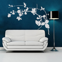 Branch tree leaves flowers Wall Decal Vinyl Sticker Art Decor ornament pattern angle plant nature Living Room Bedroom Modern Gift (i113)