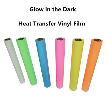 Multi-color Glow in the Dark IRON-ON Heat Transfer Vinyl For Fabric Glow HTV 20''x20'' Hot Sale