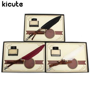 Kicute Retro Swan Feather Quill Metal Nib Dip Pen Writing Ink Set With Gift Box Stationery Antique Fountain Pen Wedding Gifts