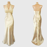 Vintage 90s Evening Dress | 1990s does 1930s Gown | Gold Liquid Satin | Jean Harlow 30s Style | Halter Dress | Ruched Open Back | Fishtail