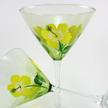 Martini Glasses Hand Painted Yellow Hibiscus Set of 2