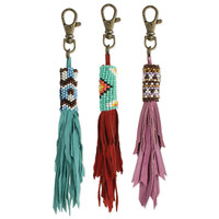 Suede Fringe & Beaded Bag Charm