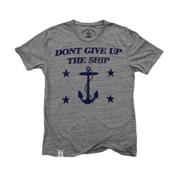 Don't Give Up the Ship: Tri-Blend Short Sleeve T-Shirt in Tri Vintage Grey