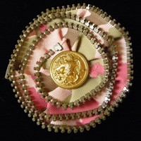 Pink Camoflage Zipper Pin with Dress Uniform Button