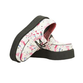 HELLO KITTY PRETTY KITTIES CREEPER - A8888 - WHITE FAUX LEATHER WITH HELLO KITTY PRINT VEGAN CREEPER ON MONDO SOLE