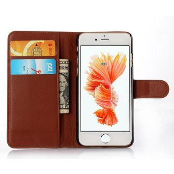 Cyboris cover for Apple iPhone 6 6s 4.7 inch case Lichee Flip Holster PU Leather with card slot holders stand function