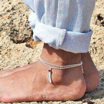 Crystal Feather Anklet