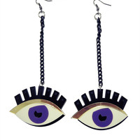 Purple Eyelash Drop Earrings