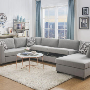 Acme ACM-53105 3 pc Cyclamen gray linen like fabric sectional sofa with storage under loveseat