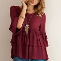 Ruffled Baby Doll Blouse - Burgundy