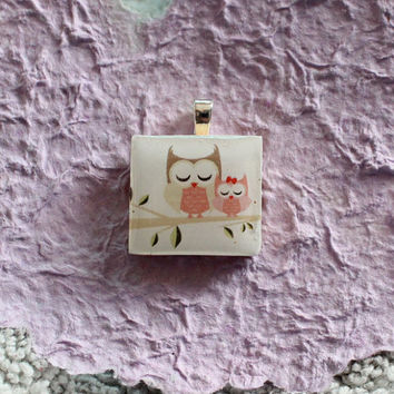 CHOOSE YOUR OWL Charm Owl Mama with Baby Scrabble Tile Pendant