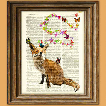 Fox and Butterflies fantasy art print illustration beautifully upcycled dictionary page book