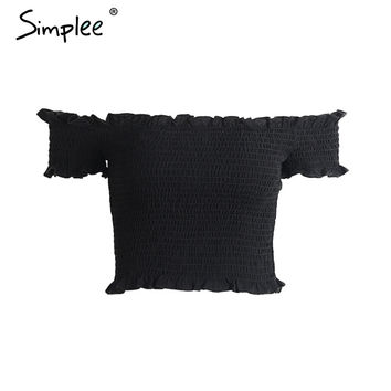 Sexy off shoulder black crop top Women summer slim ruffle short sleeve bustier top tees Party white camisole tank top