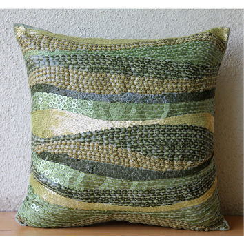 Eco Friendly - Throw Pillow Covers - 18x18 Inches Silk Pillow Cover with Embroidery and Textured Sequins