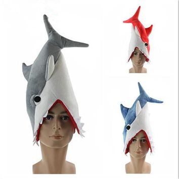 2017 New Funny Originality Aquarium Shark Hat Plush Toy Stuffed Cap Cosplay Hat For Children Adults Party Dress Supplies