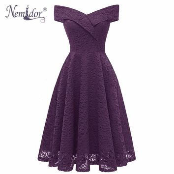 Nemidor 2018 Women Vintage Short Sleeve Elegant Swing A-line Dress Sexy V-neck Patchwork Midi Bridesmaid Lace Dress