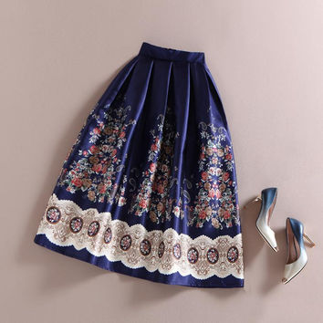 New 50s Vintage Skirts Audrey Hepburn Elegant Women Ethnic Boho Retro Flower Floral Print High Waist Flared Midi Skirt Navy Blue