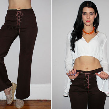 Vintage 60s LACE UP PANTS / Dark Brown Flares, High Waisted Bell Bottoms / Boho, Hippie, Festival, Groovy / Medium