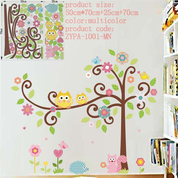 Cute wise owls tree wall stickers for kids room decorations nursery cartoon children decals 1001. animals mural arts flowers 4.0 SM6