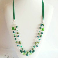 Green Long necklace, Beads Long Necklace