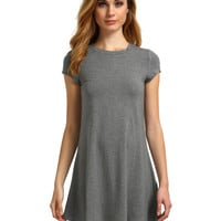 Grey Round Neck Short Sleeve Dress