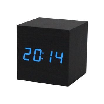 Fashion Heaven Digital LED Black Wooden Wood Desk Alarm Brown Clock Voice Control jun 17