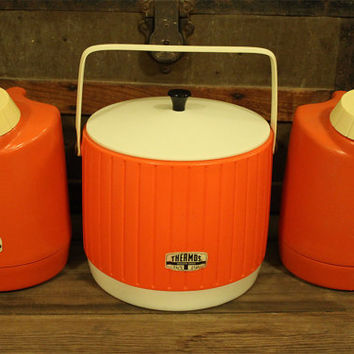 Vintage Orange Insulated Thermos Ice Bucket Cooler & Pitcher- Retro- Camping- Glamping
