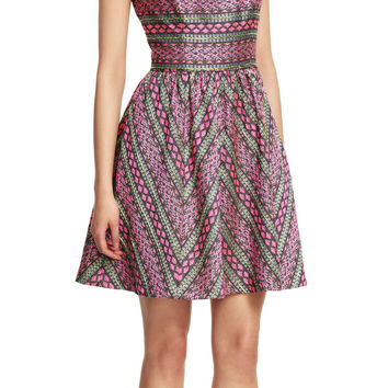 Sleeveless Striped Jacquard Party Dress with Beading Details - Adrianna Papell