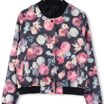 Vintage Women Long Sleeve Floral Printed Baseball Jacket Coat